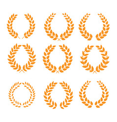 wreath reward orange set vector image vector image