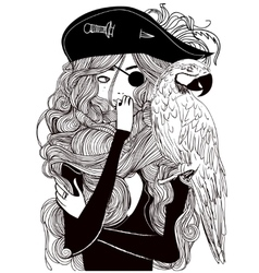 Beautiful woman pirate with a parrot vector