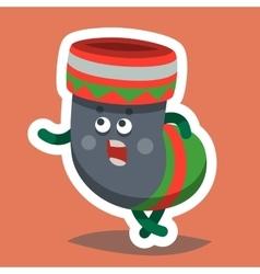 Emoticon icon happy new year sock vector