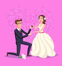 Wedding and marriage couple design proposal vector