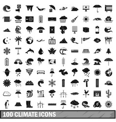 100 climate icons set simple style vector