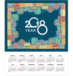 2018 calendar city vector image