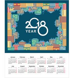 2018 calendar city vector image vector image