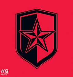 Shield with a red pentagonal soviet star vector