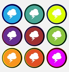 Storm icon sign nine multi-colored round buttons vector