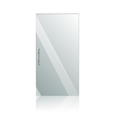 Glass doors with chrome silver handles set vector