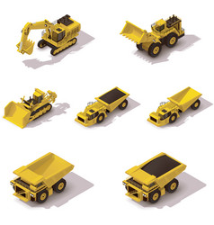 Isometric mining machinery set vector