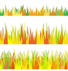 The set seamless of autumn grass vector