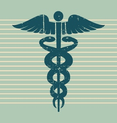 Vintage medical caduceus vector