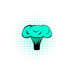 Explosion of nuclear bomb comics icon vector