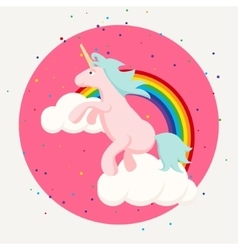 Cute happy unicorn and rainbow clouds tshirt vector