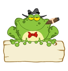 Frog Smoking A Cigar On A Wood Sigh vector image