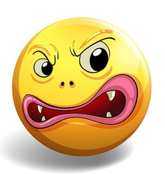 Angry face on yellow badge vector