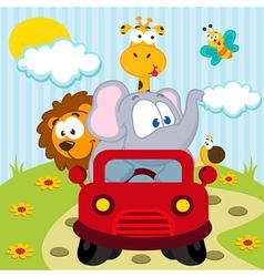 Animals by car vector