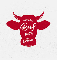 Beef logo label print poster for butcher shop vector