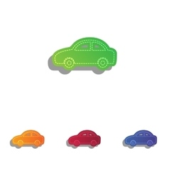 Car sign colorfull applique icons vector