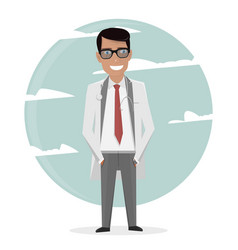 Cartoon doctor in uniform and tie character man vector