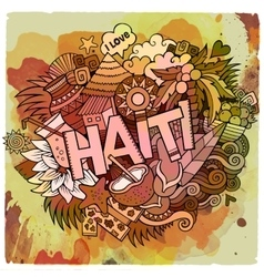 Cartoon hand drawn Doodle Haiti vector image