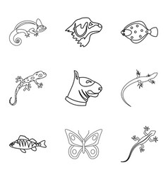 chameleon icons set outline style vector image vector image