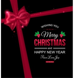 Christmas typographical background with red bow vector