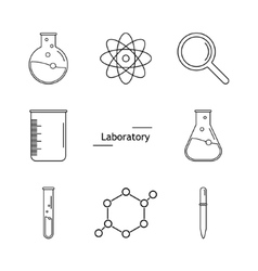 Graphic set science and chemical objects on white vector image vector image