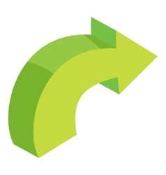 Green curved right arrow icon cartoon style vector
