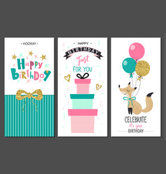 happy birthday greeting cards and party invitation vector image