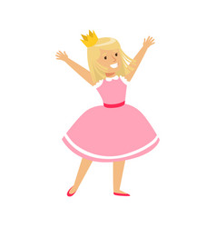 happy smiling girl dressed as a princess colorful vector image vector image