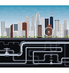 Imaginary big city with skyscrapers and tubes vector