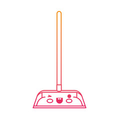Kawaii dustpan with wooden stick in degraded vector