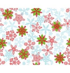 Poinsettias snow flakes vector