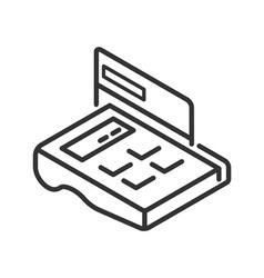 POS-terminal line icon vector image vector image