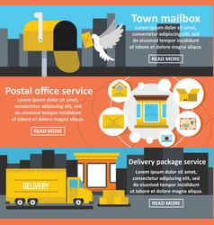 Postal service banner horizontal set flat style vector