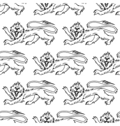 Royal heraldic lions seamless pattern vector