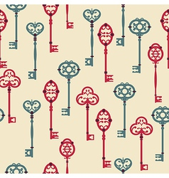 Seamless pattern with cute vintage keys vector