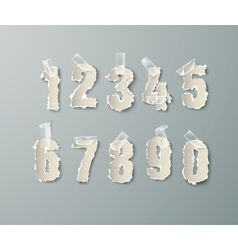 Set numbers from torn paper with tape vector