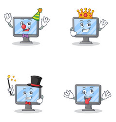 Set of monitor character with clown king magician vector