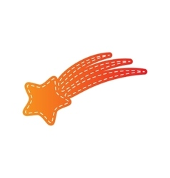 Shooting star sign orange applique isolated vector