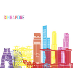 singapore v2 skyline pop vector image vector image