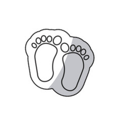 sticker baby paint footprint standing in vector image