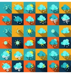 Weather icons in flat style vector