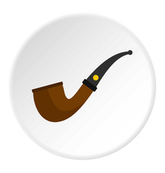 Wooden pipe for smoking icon circle vector
