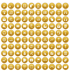100 mobile icons set gold vector