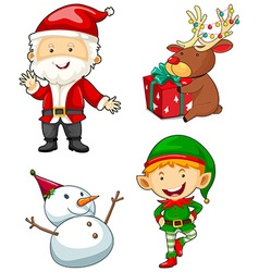 Christmas characters set on white background vector