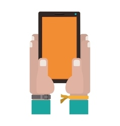 hands holding a touch tablet with watch vector image
