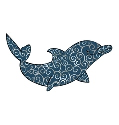 Dolphin sea animal silhouette vector