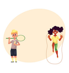 Boy and girl with jumping rope badminton racket vector