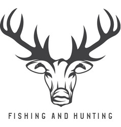 Hunting and fishing emblem with deer and fish vector
