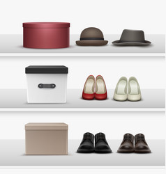 shelves with footwear and hats vector image