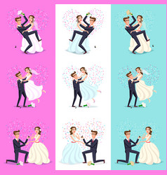 set happy couple celebrating marriage dancing vector image